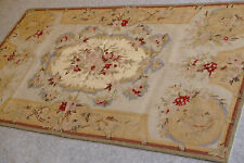 3' x 5' Beautiful Chic Shabby Vintage Aubusson Design Wool Needlepoint Carpet