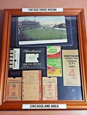 Vintage CHICAGO Horse Racing Display / Collage w/ betting tickets, postcard, ++