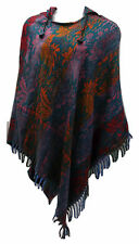 FAIRTRADE Bohemian Cashmelon Soft Warm Blue Purple Red Flora Long Hooded Poncho