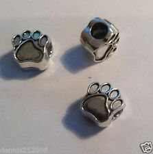 S/P  spacer beads charm animals Paw x 2 Fits european snake bracelet E171