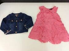 TED BAKER 2 Piece Outfit Blue Denim Jacket & Pink Ruffle Dress Age 2 Years Vgc