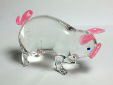 Farm MINIATURE HAND BLOWN GLASS Pig FIGURINE Collection