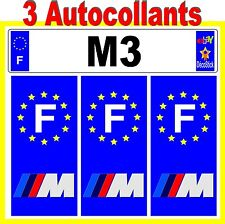 BMW M3 Sticker Autocollant Plaque immatriculation Auto Tuning Série 1 2 3 X1 X3