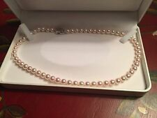World Cultured Pearl Organization Pearl Necklace High Luster Pink/white 16 inch