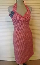 NWT Lady Luck Brand red n white gingham Wiggle Rockabilly Halter Dress M ooak