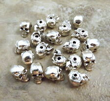 20 Pewter Silver Plated Skull Beads - 5.5mm SKULL with Horizontal Hole - 3567