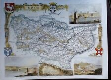 Decorative Copy of Map Of Kent, Book Plate By Thomas Moule 1830 Rochester Dover