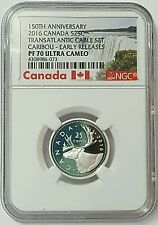 2016 Canada 25 Cents Transatlantic Cable Set Caribou PF 70