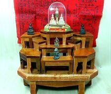 NEW Set 9 Mini Teak Wood Altar Table Carved Thai Amulet Buddha Phra Doll Jewerly