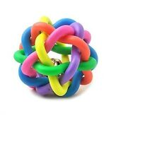 New Rainbow Color Rubber Ball Bell Pet Toy - Small Dogs - D25USA