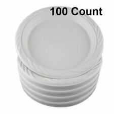 "100 Count Disposable Party Plastic Plates 9"" White Dinner Wedding Dishes Serving"