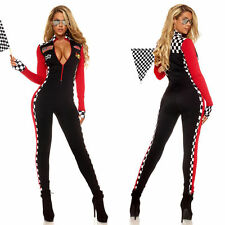 Women Racer Racing Sport Driver Costume Super Car Grid Uniform Fancy Dress S/M
