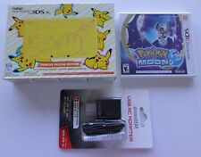 NEW Nintendo 3DS XL Pikachu Yellow Video Game Console + Moon + AC Adapter