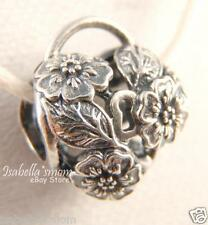 FLORAL HEART PADLOCK Authentic PANDORA Silver FLOWER HEART Charm/Bead 791397 NEW