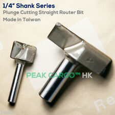 """Plunge Cutting Straight Router Bits Solid Carbide 2-Flute 1/4"""" x 1/4"""" TAIWAN"""