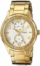 GUESS U0442L2 Women's Mid-size Gold-Tone Crystal Stainless Steel Watch NEW**
