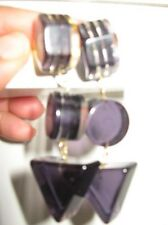 vintage Retro Mod 1960s 60s purple clear lucite bakelite drop earrings earring