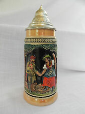 BEER STEIN West Germany Hand Painted Pewter Lid