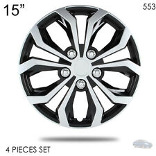 "NEW 15"" ABS SILVER RIM LUG STEEL WHEEL HUBCAPS COVER 553 FOR NISSAN"