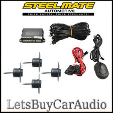 STEELMATE PTS400EX-OE (FLUSH FIT) MATT BLACK REAR PARKING SENSORS WITH BUZZER
