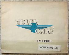 ADLER 1.7 LITRE CAR RANGE Sales Brochure 1935