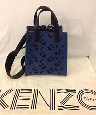 NEW AUTH KENZO FLYING SHOULDER CROSS BODY BAG HANDBAG NAVY BLUE CALFSKIN LEATHER