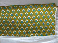 Cut Chenille Upholstery Fabric - Green / Turquoise / Ivory