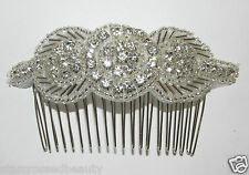 Silver Vintage Hair Comb Slide Bridal Headpiece Wedding 1920s Flapper Clip L79