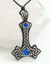 Thors Hammer Pendant Necklace Mjollnir Mjolnir blue beads Pagan Viking Jewellery