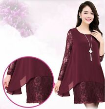 Fashion Women's Long Sleeve Lace Chiffon Loose Casual Evening Party Mini Dresses