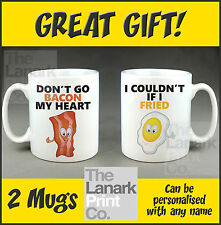 DON'T GO BACON MY HEART TWO PERSONALISED MUGS Valentines Birthday Christmas Cup