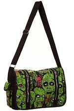 BANNED BLACK GREEN ZOMBIE ARMY MESSENGER BAG PSYCHOBILLY HORROR PUNK GOTH ROCK