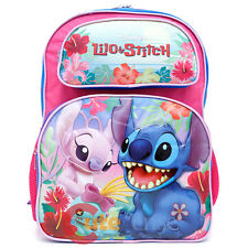 "Disney Lilo and Stitch Large School Backpack 16"" Girls Book Bag with Angel Pink"