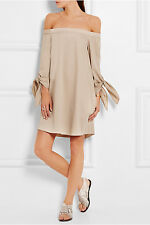 TIBI Off the Shoulder Tie Cotton Chambray Mini Dress in Sand size 2