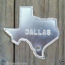 Original TEXAS DALLAS Silver Steel LICENSE Plate Car Auto TOPPER 1940s NOS