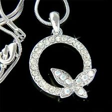 w Swarovski Crystal Eternity Circle of Love Life Butterfly Pendant Necklace Xmas