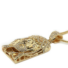 """ICED OUT JESUS FACE PENDANT NECKLACE 30&36"""" FRANCO ROPE CHAIN HIPHOP PIECE STYLE"""