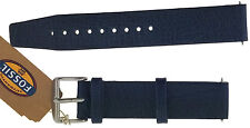 Genuine Leather NAVY Strap/Band for FOSSIL Watch Silver Buckle Clasp 18mm + PINS