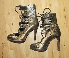 OFFICE black gold suede paisley floral lace-up STEAMPUNK shoes boots BNIB 3 36