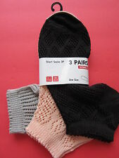 NIP NEW Uniqlo Women SHORT SOCKS LOTS BUNDLE 3 PAIRS ~~ VERY PRETTY~~
