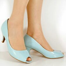 NEW Ladies Low Mid Kitten Heel Patent Party Prom Peep Toe Court Shoes Pumps Size