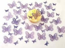 48 Edible Textured Purple Heart Detail Butterflies Pre Cut Wafer Cupcake Toppers
