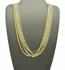 NEW HIP HOP 4 CHAINS SET ROPE & BOX & LINK & CUBAN NECKLACE CHAIN SET RC1525