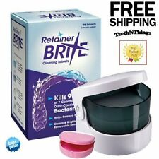 96 RETAINER BRITE TABLETS & SONIC CLEANER + DENTAL  DENTURE CASE * Best Match *