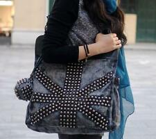 womens punk rock rivet denim Rucksack travel handbag Shoulder messenger Bag