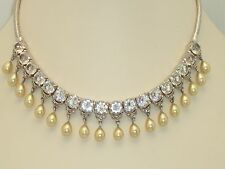 VINTAGE REJA RHODIUM PLATE OPEN BACK SET CRYSTAL RHINESTONE FAUX PEARL NECKLACE