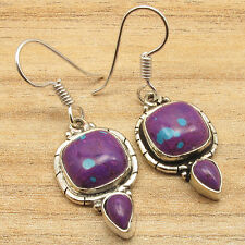 PURPLE COPPER TURQUOISE Gems Urban Exotic Jewellery Earrings ! 925 Silver Plated