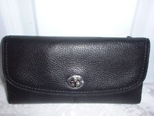 NWT Coach Park Black Leather Turnlock  Checkbook Wallet Clutch 49164