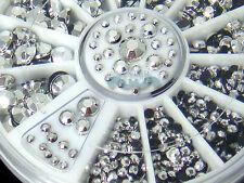 5 Sizes 800pcs Nail Art Decoration 3D Glitter Silver Rhinestones+Wheel #S139