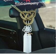 2 In 1 China White Kiku Knot Gold Kin Rope For Car Rearview Mirror Vip Charms au